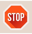 Stop sign with long shadow in flat style vector image