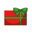 red christmas gift with green bow wrapped ribbon vector image