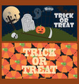 trick or treat posters with cemetery and pumpkins vector image