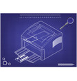 3d model of printer on a blue vector image vector image