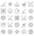45 degrees angle outline icons set