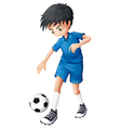 A soccer player in his complete blue uniform vector image vector image