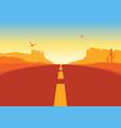 american road in desert landscape arizona vector image