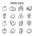 apple icon set in thin line style vector image vector image