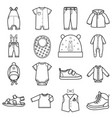baby clothes icons setclothing for boy vector image