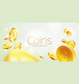 banner realistic gold coins flying green vector image