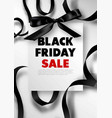 black friday sale promotional poster with silk bow vector image vector image