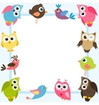 blue frame with colorful birds vector image vector image