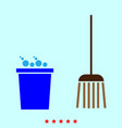 bucket and broom set it is color icon vector image