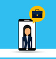 businesswoman in smartphone with speech bubble vector image vector image