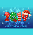 cartoon greeting banner in the year 2019 on snow vector image
