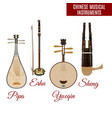 chinese string and wind musical instruments vector image vector image