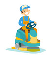 cucasian man cleaning floor with washing machine vector image vector image