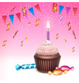 cupcake with candle vector image vector image