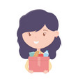 cute young woman with box charity and donation vector image vector image