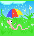earthworm under an umbrella vector image