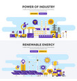 flat design concept banners - power of industry vector image vector image