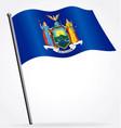 flying waving new york ny state flag on flagpole vector image