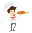 Funny chef serving pizza dish in the kitchen vector image vector image