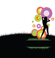 girl with circle in nature vector image vector image