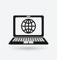 globe on screen laptop symbol vector image
