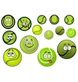 Green tennis balls mascots cartoon characters vector image vector image
