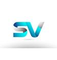 grey blue alphabet letter sv s v logo 3d design vector image vector image