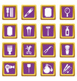 hairdresser icons set purple square vector image vector image