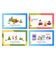 healthy food and camping people website landing vector image vector image