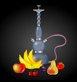 hookah and a set of fruits vector image vector image