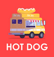 hot dog poster template fast food trailer vector image