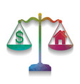 house and dollar symbol on scales vector image vector image