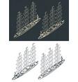 large modern sailing ship isometric drawings vector image vector image