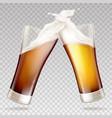 light dark beer in transparent glasses vector image