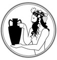 man holding an amphora wearing crown grape vector image vector image