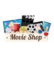 movie shop wood board vector image