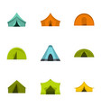 outdoor tent form icon set flat style vector image vector image
