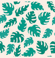 philodendron leaf seamless pattern on beige vector image vector image
