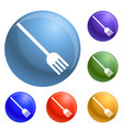 plastic fork icons set vector image