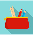 red pencil case icon flat style vector image