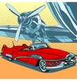 Retro car on the runway vector image vector image