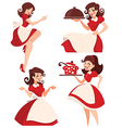 retro cartoon housewife vector image vector image
