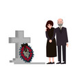 sad man and woman dressed in mourning clothes vector image