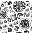 seafood and wine seamless pattern hand drawn shel vector image