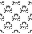 seamless birthday cake pattern line cakes on a vector image