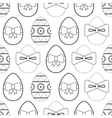 Seamless black and white pattern flat Easter eggs vector image