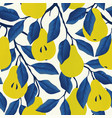 seamless pattern with yellow pear fruit vector image vector image
