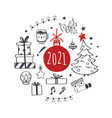 set christmas design doodle elements with merry vector image