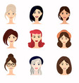 set of beautiful faces of young girl close-up vector image