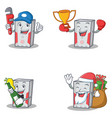 set of computer character with plumber winner beer vector image vector image